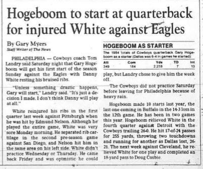 Article written by Gary Myers from The Dallas Morning News October 20, 1985.