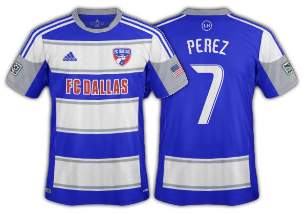 2012-14 FC Dallas blue and white hoops with grey accents secondary.
