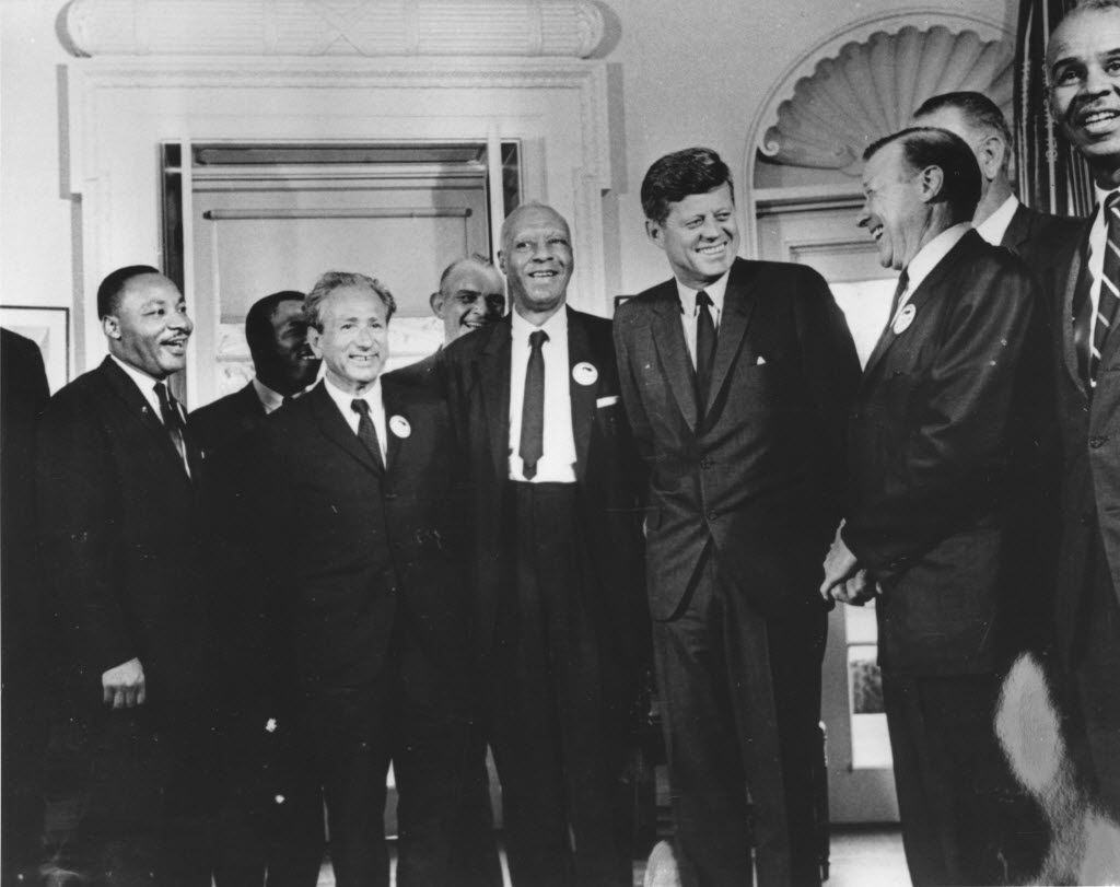 American president John F. Kennedy in the White House with leaders of the civil rights 'March on Washington' on Aug. 28. 1963. From left:  Whitney Young,   Martin Luther King, Rabbi Joachim Prinz, A. Philip Randolph, President Kennedy, Walter Reuther and Roy Wilkins. Behind Reuther is Vice-President Lyndon Johnson.