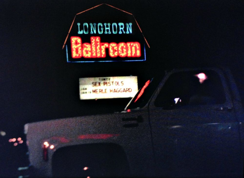 The marquee at the Longhorn Ballroom on Jan 10, 1978.