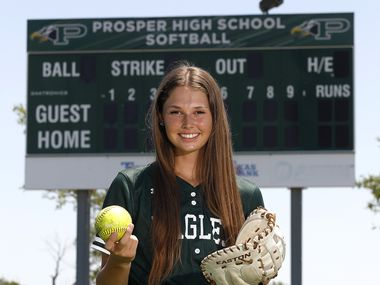 Elizabeth Moffitt if Prosper High School is the Dallas Morning News All-Area Softball Player of the Year, pictured on her home field at Prosper High School on Wednesday, June 16, 2021.