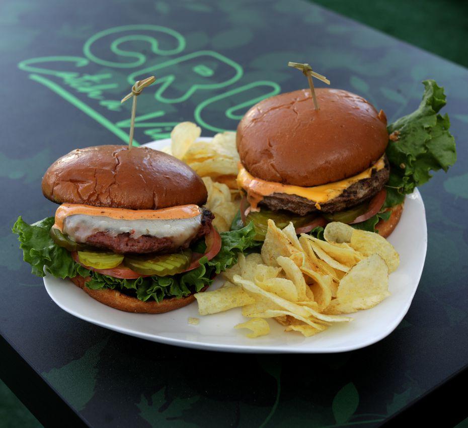 Cru Lounge sells veggie and beef burgers.