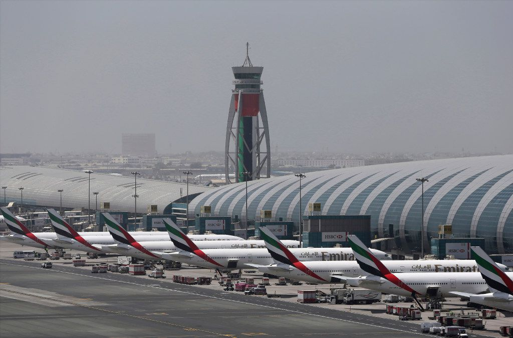 Emirates planes are parked at the Dubai International Airport in Dubai, United Arab Emirates on April 20, 2017.