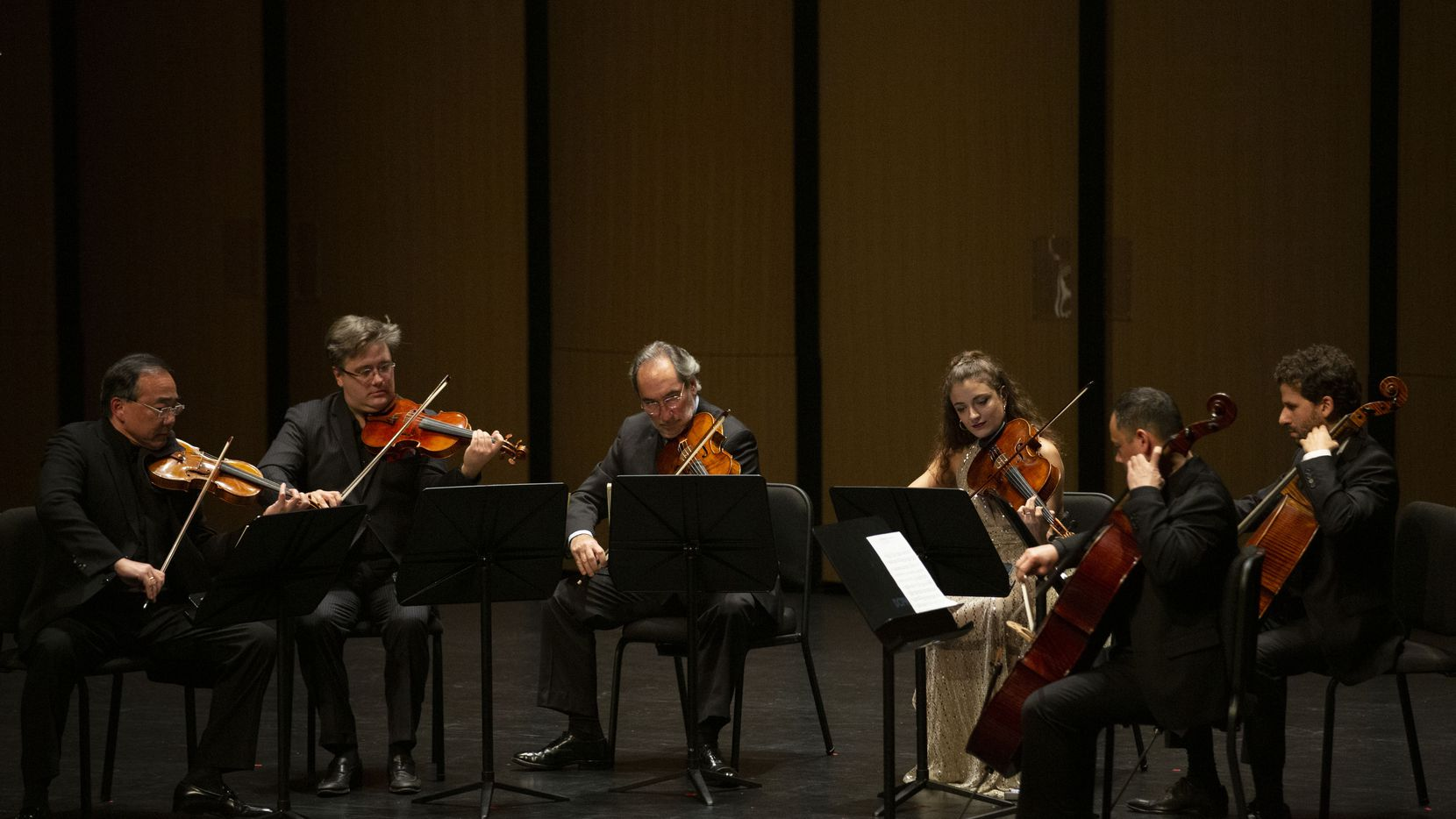 (From left) Violinists Cho-Liang Lin and Aaron Boyd, violists Toby Hoffman and Milena Pajaro-van de Stadt and cellists Bion Tsang and Nick Canellakis perform in a Chamber Music International concert at Moody Performance Hall in Dallas on Friday, Dec. 6, 2019.