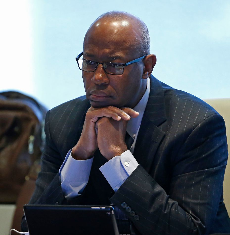 Sam Friar, chairman of the board of the Dallas Police & Fire Pension System, listened during a trustee meeting last month. (Jae S. Lee/The Dallas Morning News)