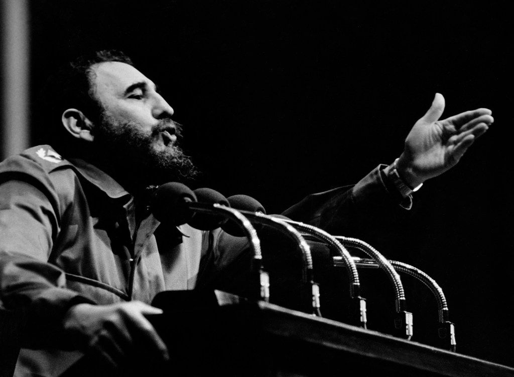 In this 1970s file photo, Cuban Prime Secretary of the Cuban Communist party and President of the State Council Fidel Castro addresses the crowd.