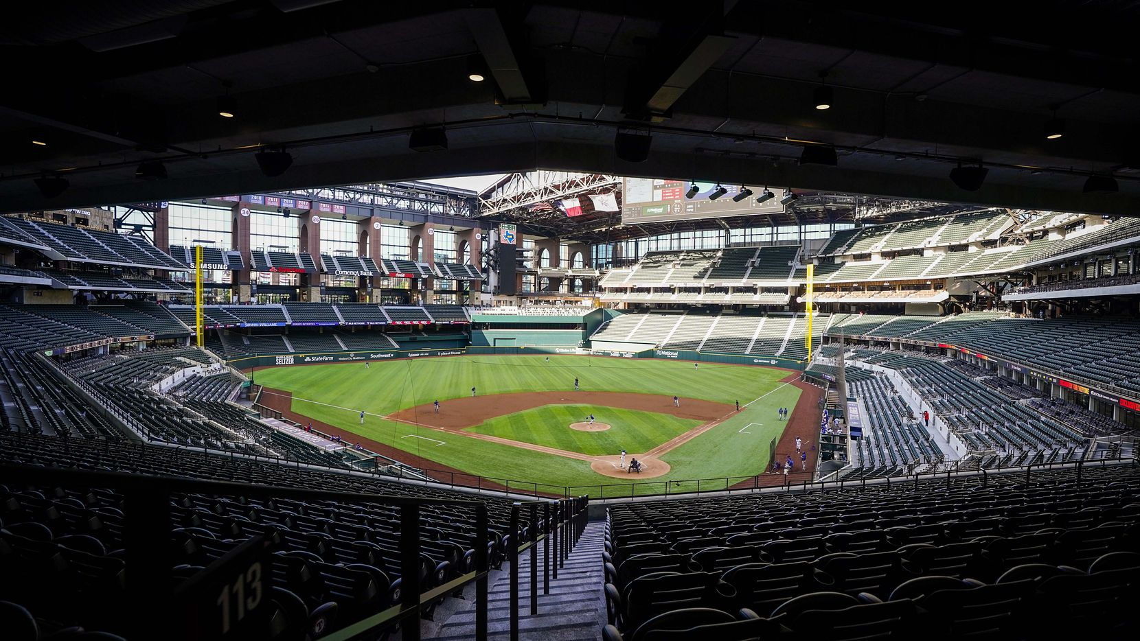 The retractable roof is open for an intrasquad game during Texas Rangers Summer Camp at Globe Life Field on Friday, July 17, 2020.