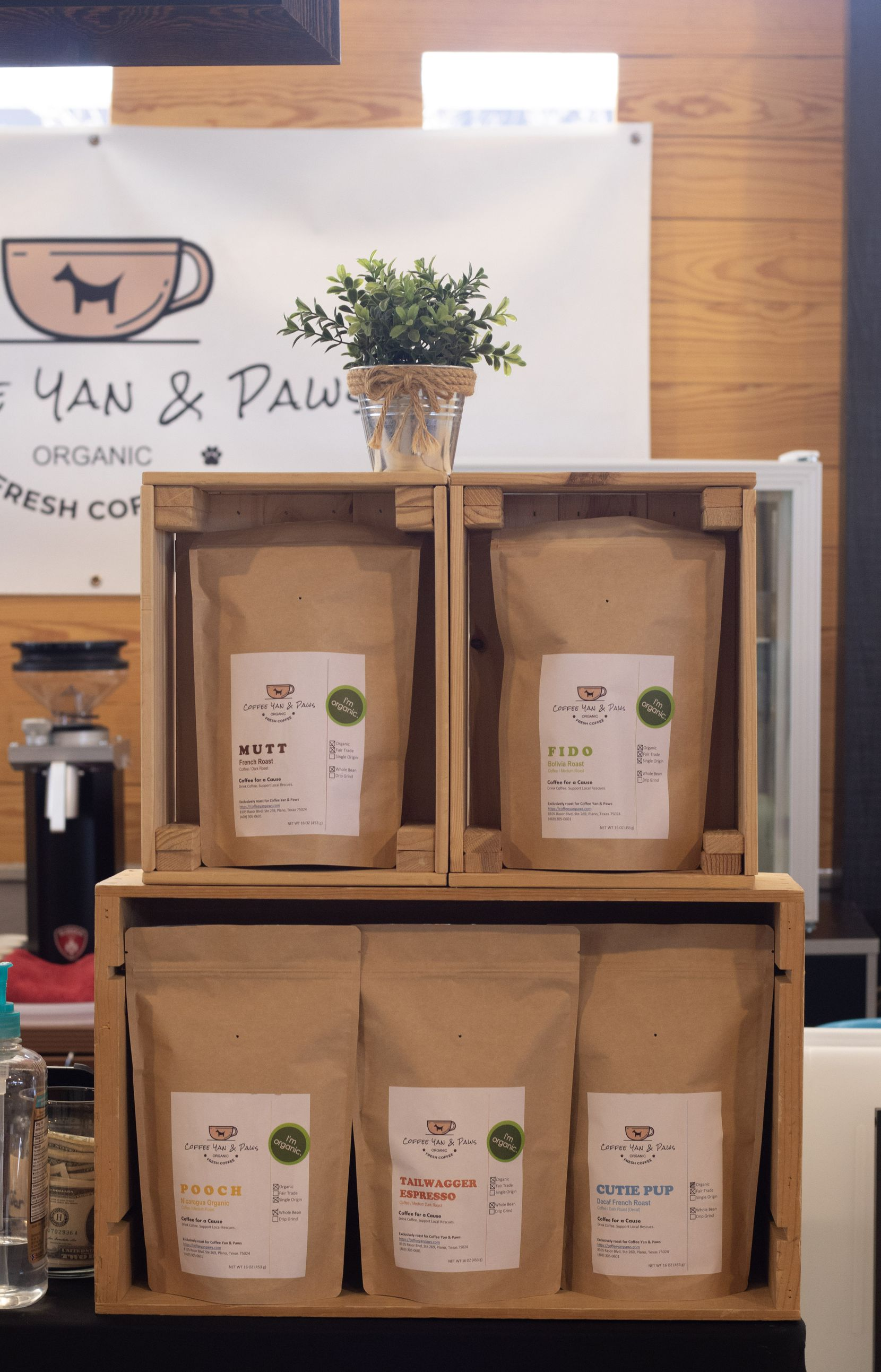 Coffee Yan and Paws at the Frisco Fresh Market donates a portion of proceeds to local animal shelters.