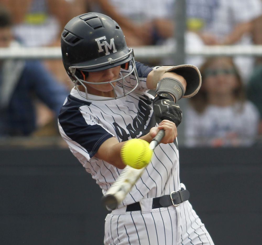 Flower Mound's McKenna Andrews (6) fouls off a pitch during the bottom of the first inning against Deer Park. The two teams played their UIL 6A state softball semifinal game at Leander Glenn High School in Leander on June 4, 2021. (Steve Hamm/ Special Contributor)