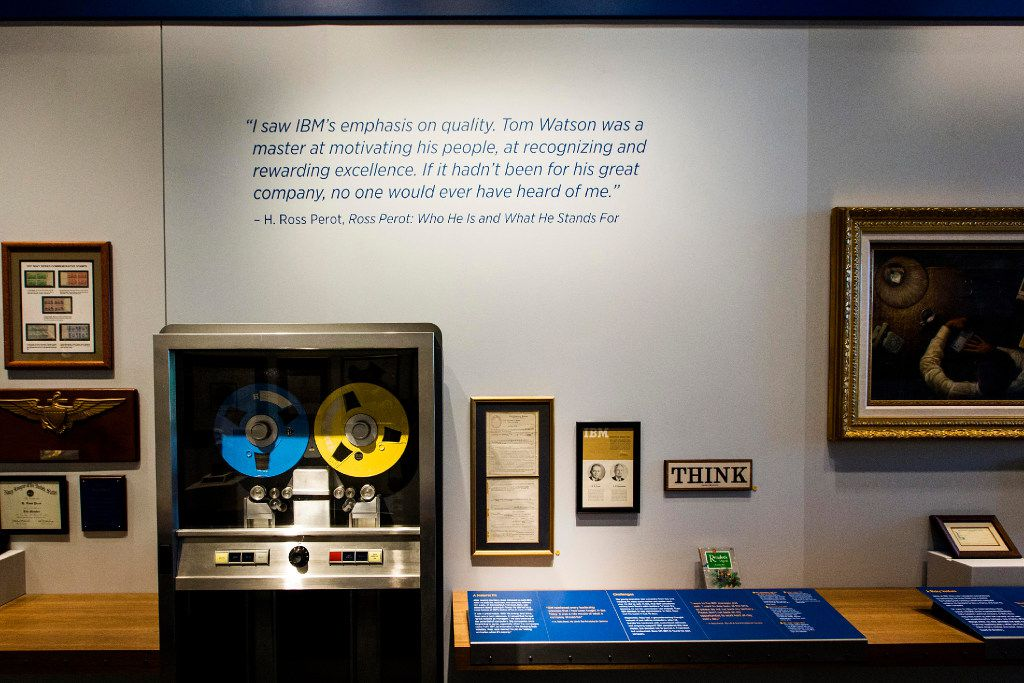 A display of H. Ross Perot's time at IBM before he founded Electronic Data Systems is seen during a tour of the headquarters for The Perot Companies.