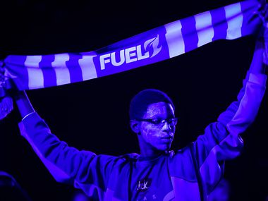 Dallas Fuel fans cheer their team before the start of a Overwatch League match against the Los Angeles Valiant at the Arlington Esports Stadium on Saturday, Feb. 8, 2020, in Arlington.