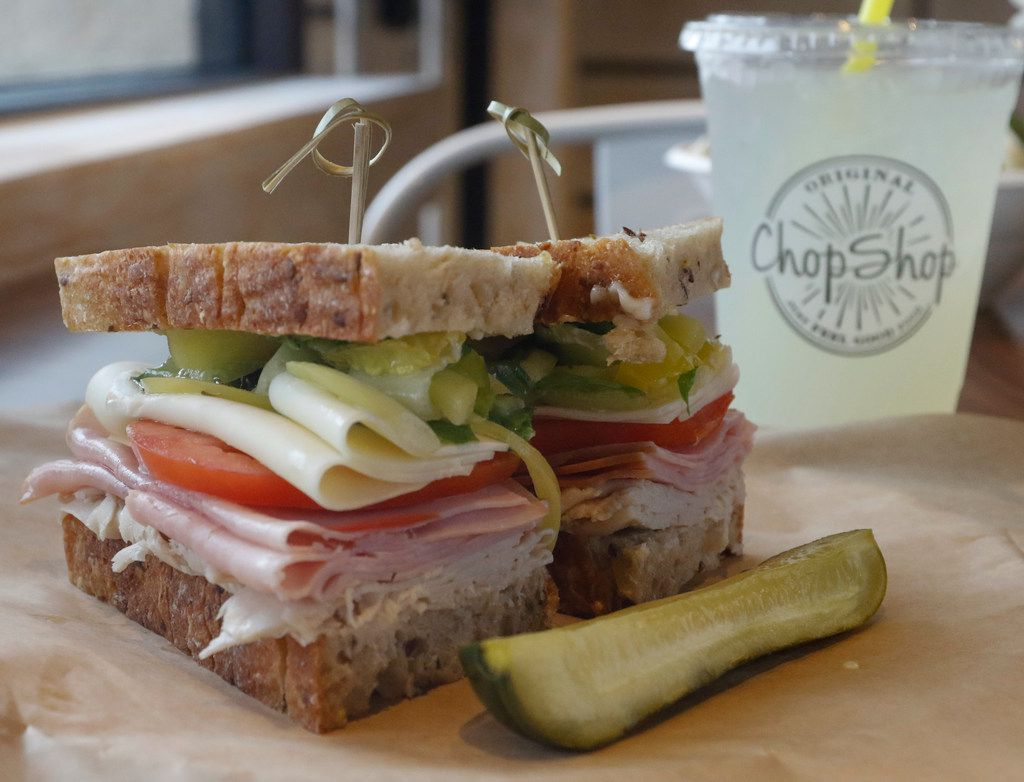 The Grinder is a sandwich made with  ham, turkey, soppressata and provolone at new Texas restaurant Original ChopShop.