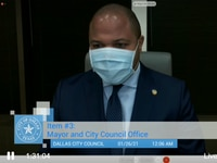 Mayor Eric Johnson speaks at a special City Council meeting that ended after midnight on Tuesday, Jan. 26, 2021 about the COVID-19 vaccine distribution.