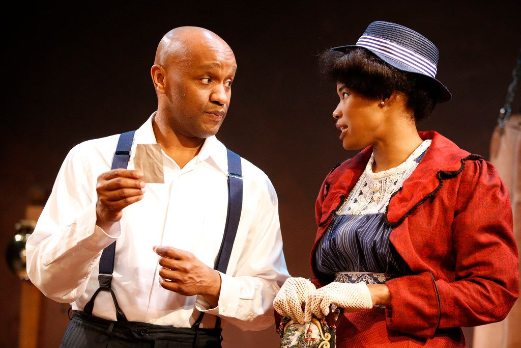 Jamal Gibran Sterling (left playing Jay)  and Jaquai Wade Pearson (Nina) in the regional premiere of The Royale by Kitchen Dog Theater at Trinity River Arts Center in Dallas.