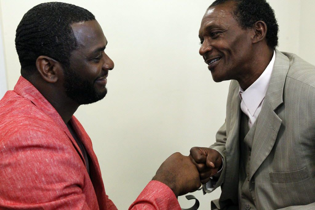 Dallas County exonerees Christopher Scott (left) and Johnnie Lindsey in 2014.