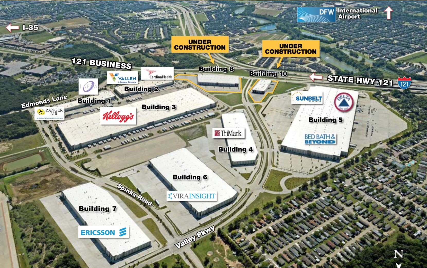 Majestic Airport Center DFW at State Highway 121 and Valley Parkway. Seven buildings have already been constructed.