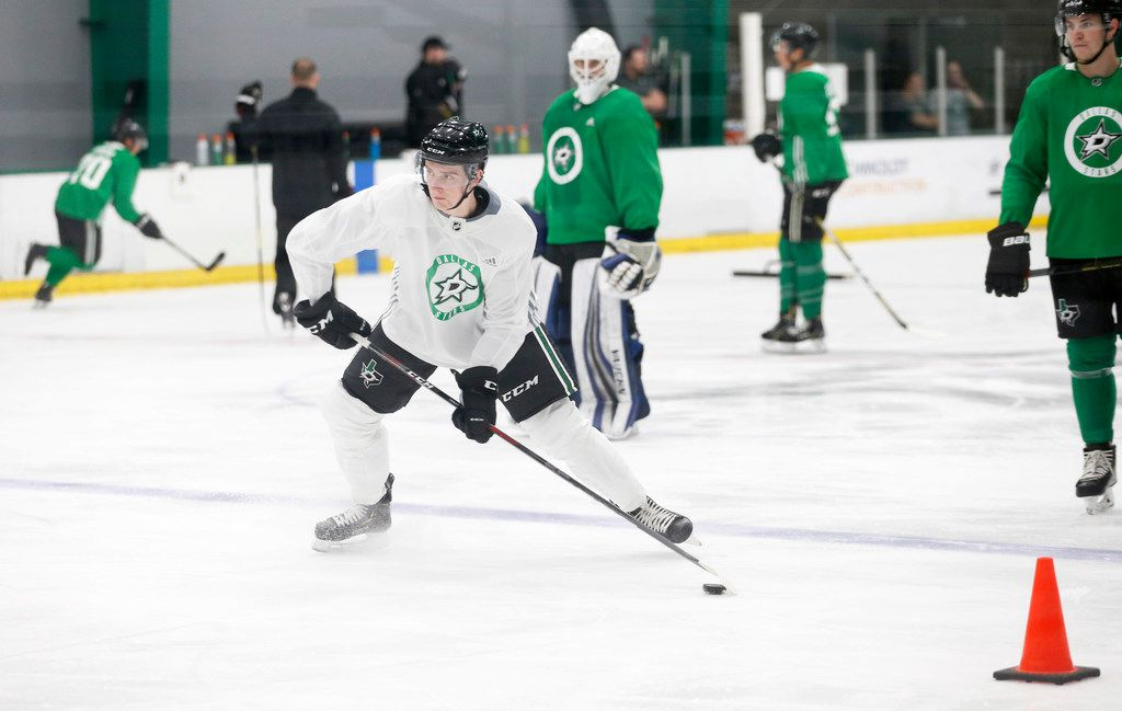 Dallas Stars Thomas Harley (5) goes through a drill during the Dallas Stars prospect camp at Comerica Center in Frisco, Texas on Wednesday, June 26, 2019.