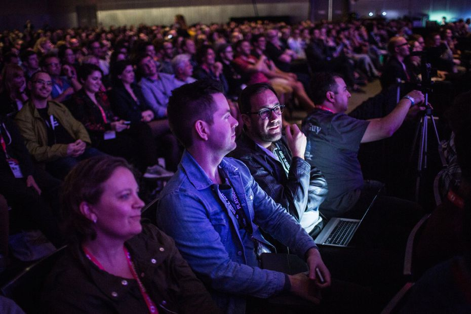 A packed room listens to Casey Neistat speak on March 11, 2017 during a SXSW Interactive featured session at the Austin Convention Center. (Tamir Kalifa/Austin American-Statesman/TNS)