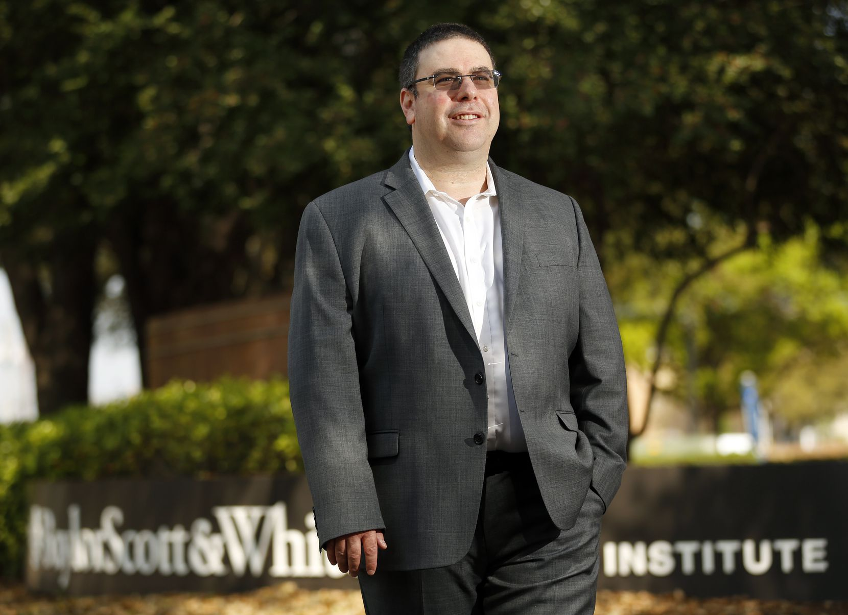 Dr. Robert L. Gottlieb, principal investigator of Baylor Scott and White  active clinical trials for COVID-19, poses for a photo outside the research facility in Dallas, Thursday, March 26, 2020.
