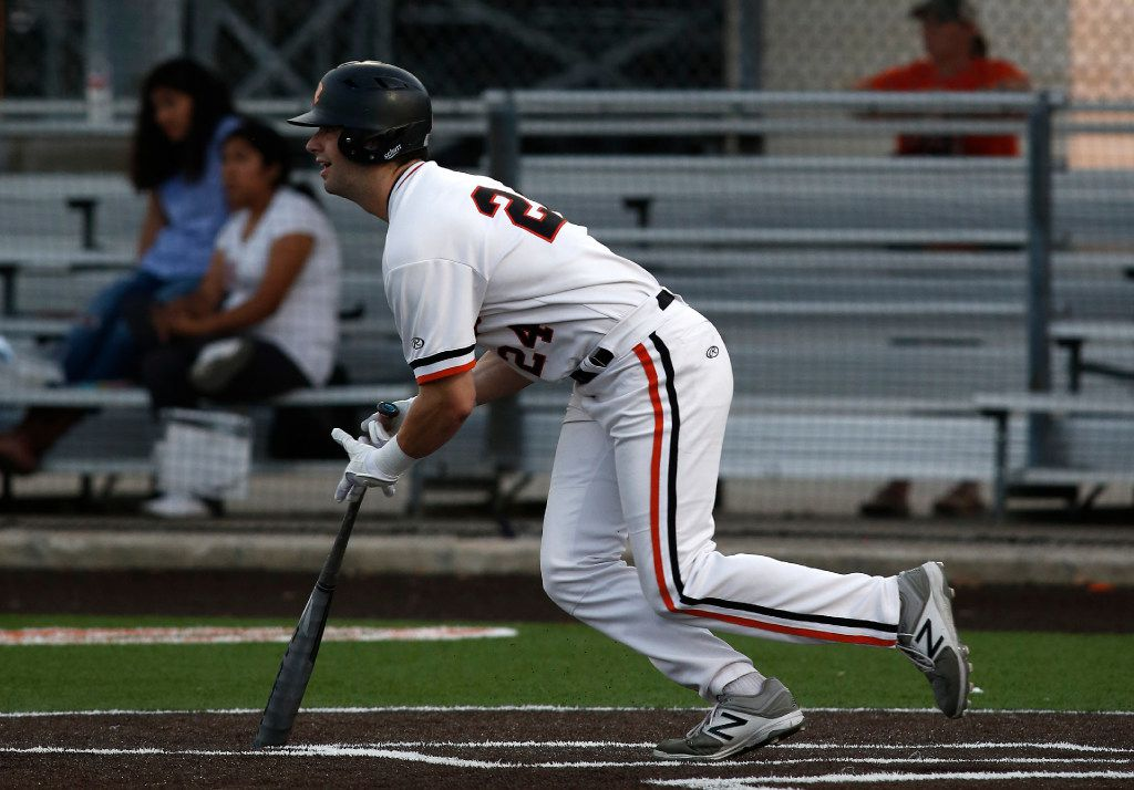 Rockwall's Will Frizzell bats against North Mesquite in their high school baseball game in Rockwall, Texas, Wednesday, April 26, 2017. Mike Stone/Special Contributor