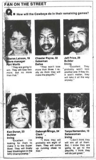 Q&A segment with Cowboys fans from The Dallas Morning News October 17, 1985.