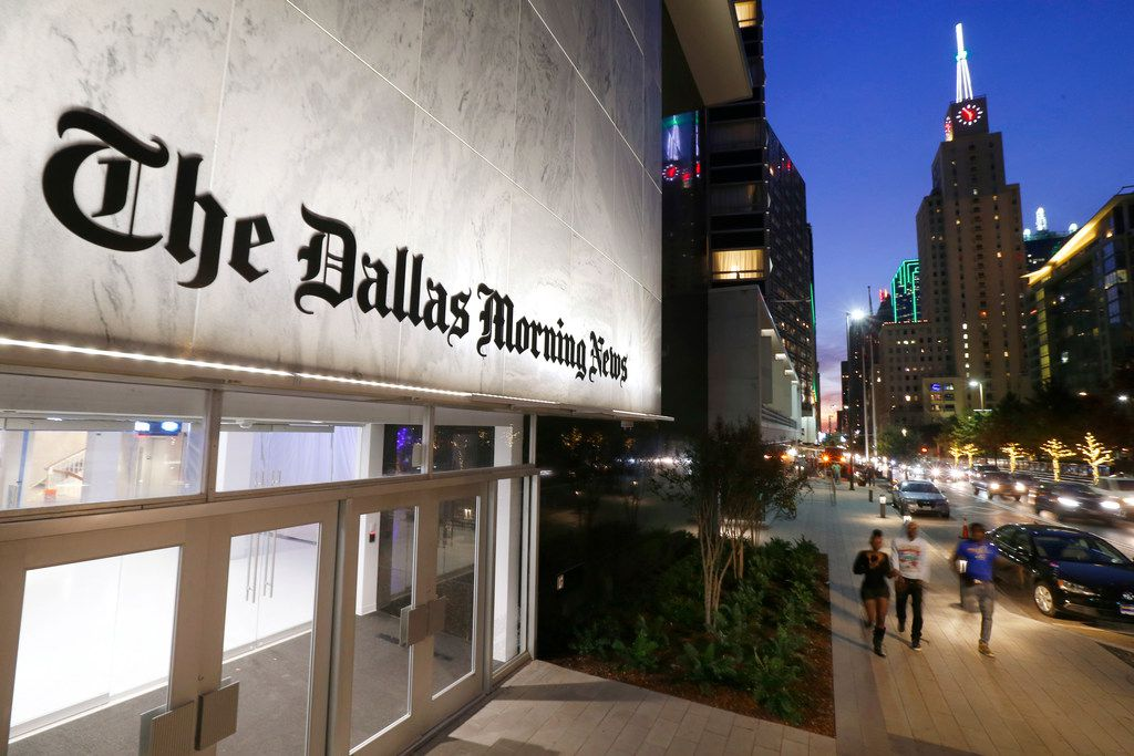 The exterior of the newly completed Dallas Morning News building in the old Dallas Public Library, Wednesday, November 29, 2017. (Tom Fox/The Dallas Morning News)