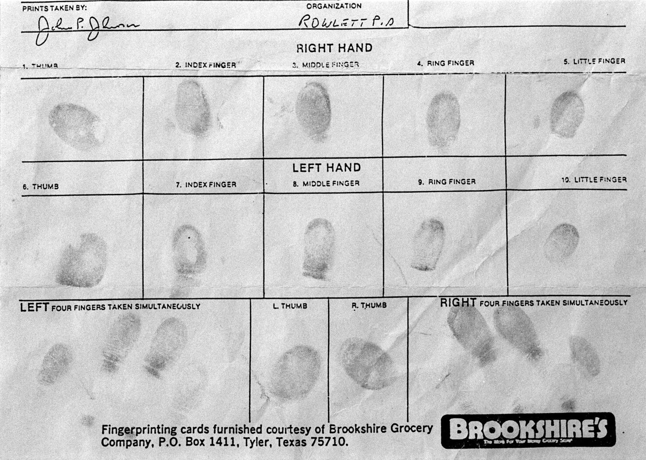 This fingerprint document, reportedly to show the fingerprints of slaying victim Devon Routier, was copied in the law office of Stephen Cooper.