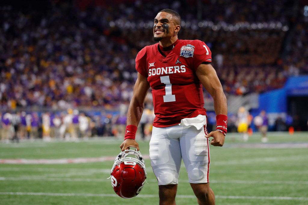 ATLANTA, GEORGIA - DECEMBER 28: Quarterback Jalen Hurts #1 of the Oklahoma Sooners reacts from the sidelines during the game against the LSU Tigers in the Chick-fil-A Peach Bowl at Mercedes-Benz Stadium on December 28, 2019 in Atlanta, Georgia.