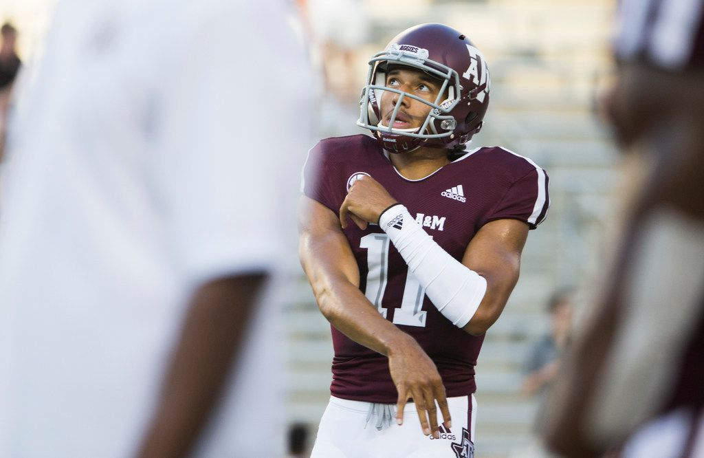 Texas A&M Aggies quarterback Kellen Mond (11) warms up prior to a matchup between the Texas A&M Aggies and the Northwestern State Demons on Thursday, August 30, 2018 at Kyle Field in College Station, Texas. (Ryan Michalesko/The Dallas Morning News)