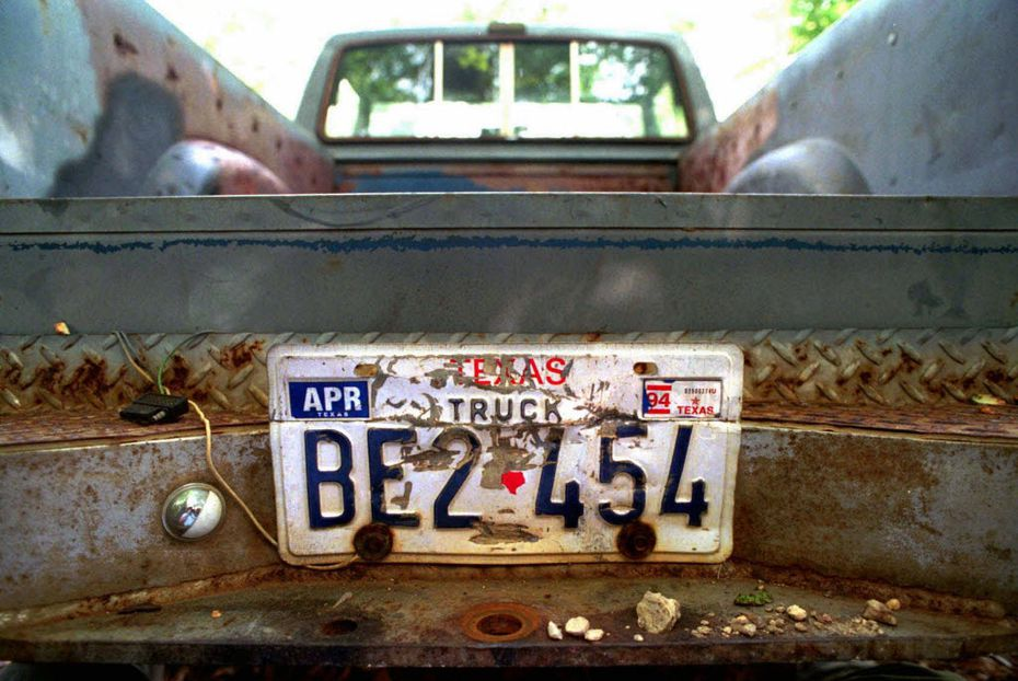 In a Thursday, June 11, 1998 file photo, the rear of the 1982 pickup truck owned by Shawn Allen Berry, 23, of Jasper, Texas, is shown. The ball of the hitch has been removed by the FBI in their investigation into the death of James Byrd Jr.