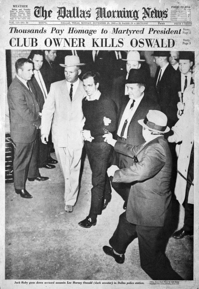 The Nov. 25, 1963, front page photo taken by Dallas Morning News photographer Jack Beers as Jack Ruby shot Lee Harvey Oswald.