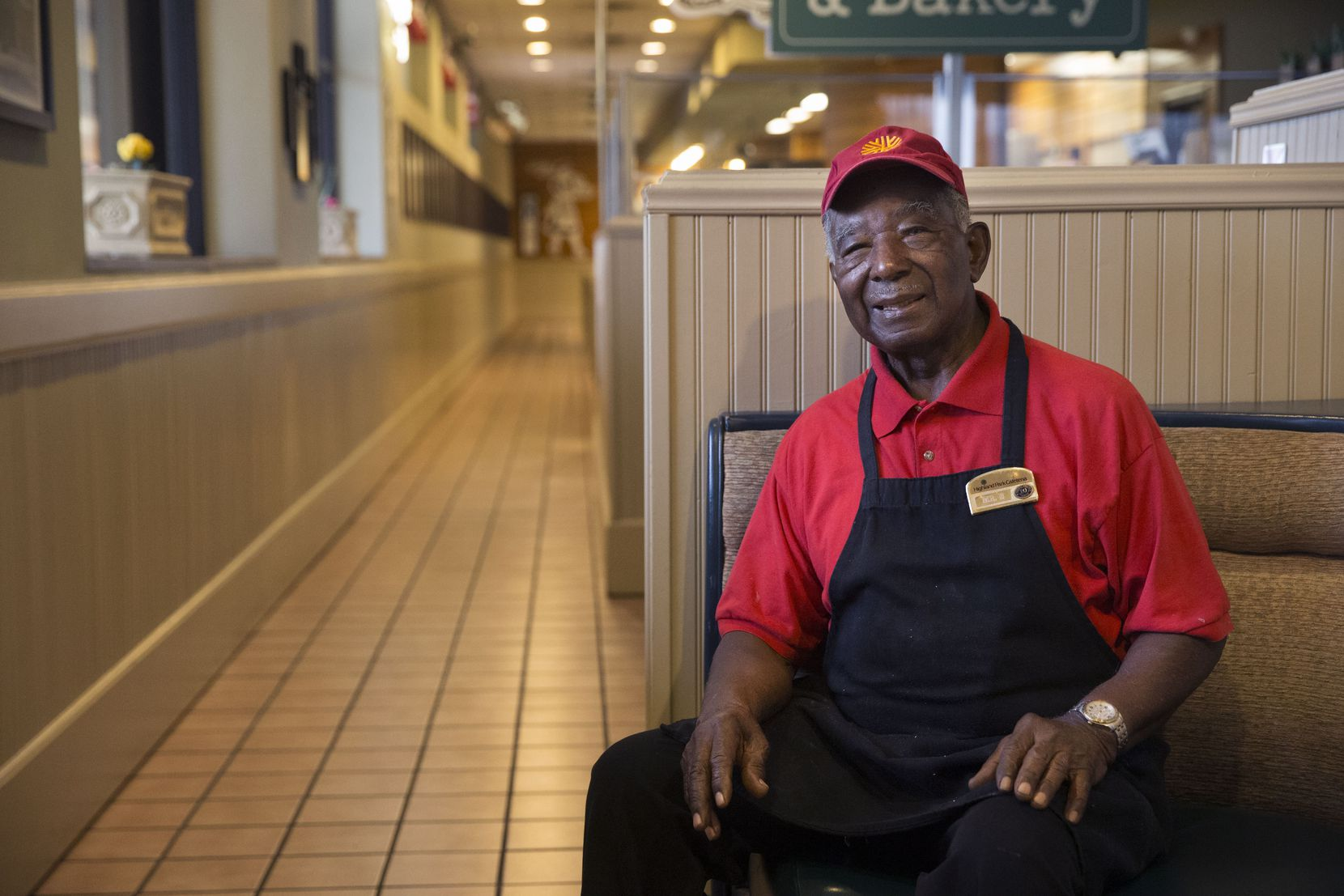 "Ernest ""Mr. B"" Bowens, 87, a Highland Park Cafeteria cook, at the restaurant in Dallas on Thursday, January 10, 2019. Bowens has worked at the restaurant since 1956. ""Keep God in front of you,"" Bowens said, offering his advice for a long life. ""Keep serving the Lord. Serving the Lord will pay off."" (Daniel Carde/The Dallas Morning News)"