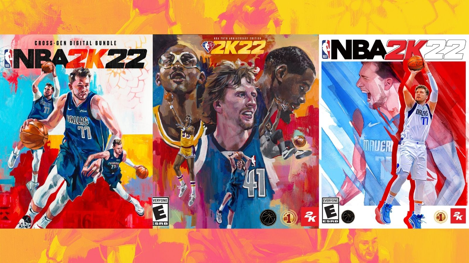 The legends edition cover of NBA 2K22, the latest entry in the basketball video game series, features Mavericks legend Dirk Nowitzki along with Kevin Durant and Kareem Abdul-Jabbar. Other editions, like the cross-gen digital bundle, feature Mavericks guard Luka Doncic.