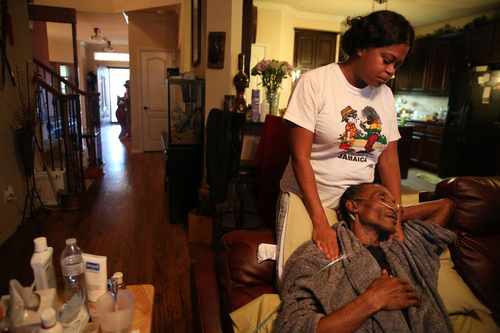 Johnnie Lindsey, who spent 26 years in prison for a crime he didn't commit, shared a moment with his wife, Sherita, at their home in Dallas on Jan. 24.