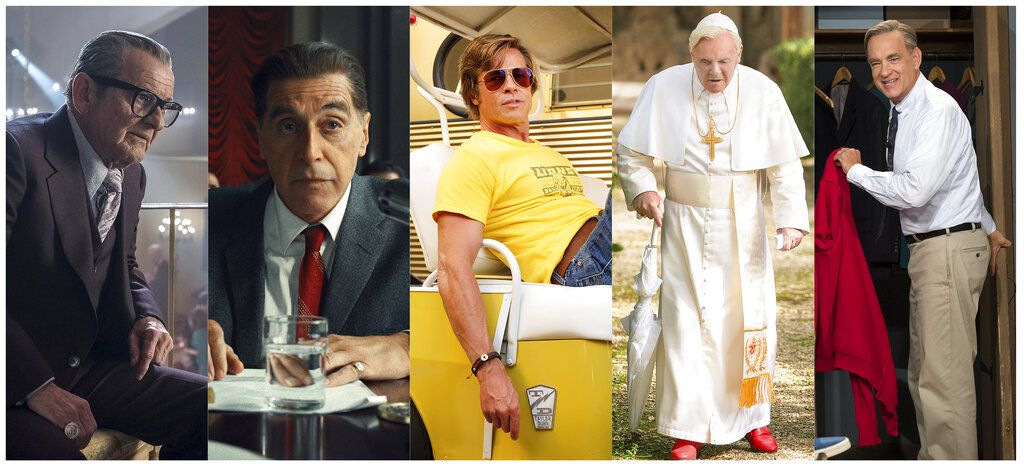 "En esta combinación de fotos, de izquierda a derecha, los nominados al Oscar a mejor actor de reparto Joe Pesci en ""The Irishman"", Al Pacino en ""The Irishman"", Brad Pitt en ""Once Upon a Time...in Hollywood"", Anthony Hopkins en ""The Two Popes"", y Tom Hanks en ""A Beautiful Day in the Neighborhood"". (Netflix/Netflix/Sony/Netflix/Sony via AP)"