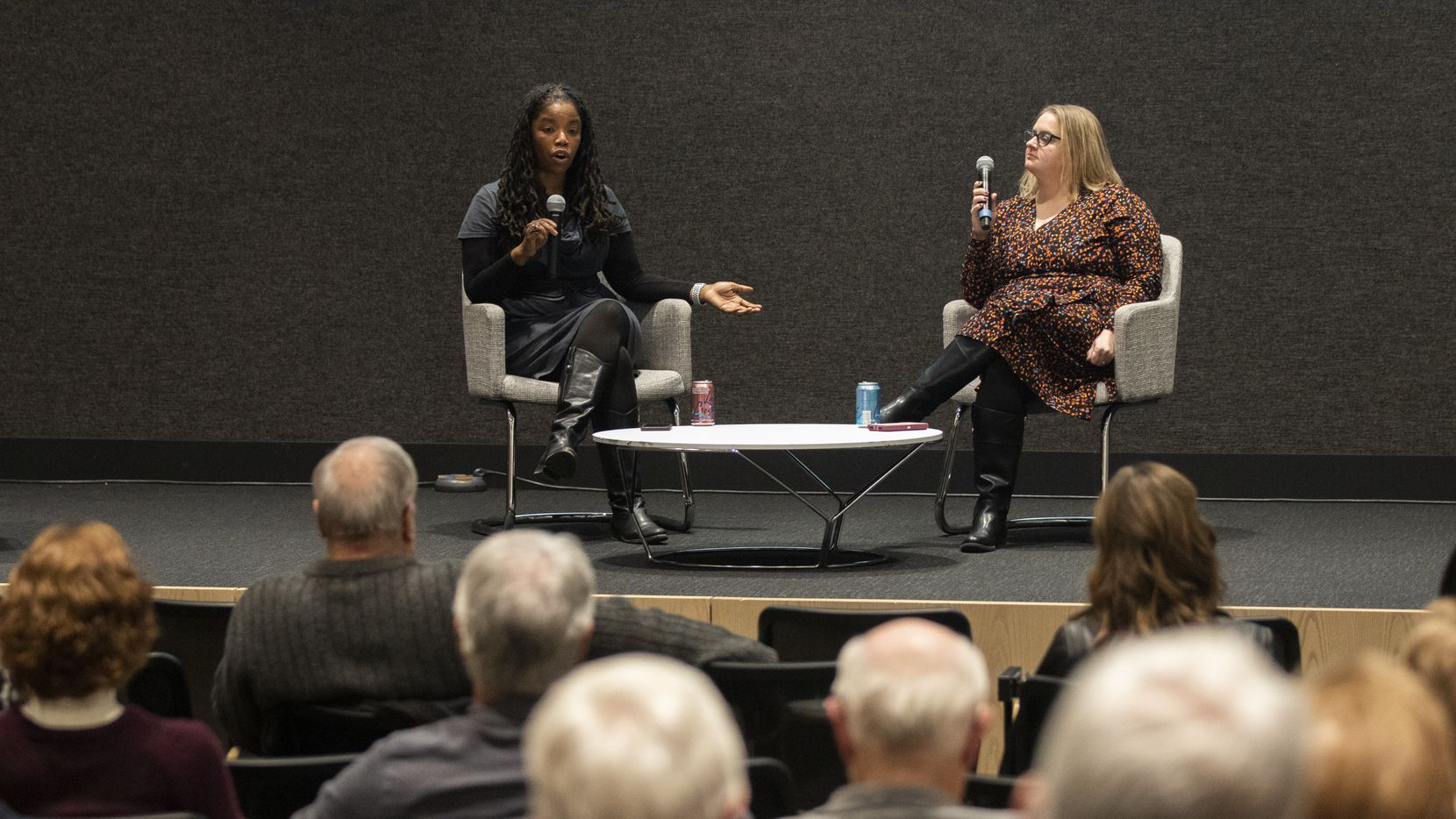 "Marcia Allert, director of visual journalism, (left) and Jennifer Emily, enterprise reporter, discuss the DMN audio report ""The Death of Botham Jean: Amber Guyger on Trial"" during the Duets - True Crime conversation on Nov. 12, 2019 in the DMN auditorium in Dallas."