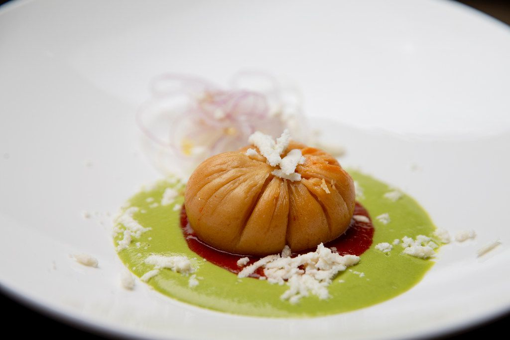 Chicken masa with Serrano verde and red guajillo at Tulum in Dallas on Wednesday, October 17, 2018. (Shaban Athuman/The Dallas Morning News)