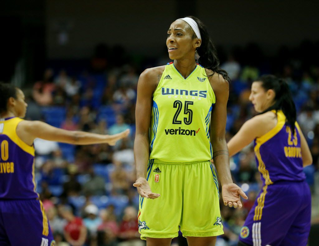 Dallas Wings forward Glory Johnson (25) reacts to a call in the first half during a Women's National Basketball Association game between the Los Angeles Sparks and the Dallas Wings at the College Park Center in Arlington, Texas Friday September 2, 2016. (Andy Jacobsohn/The Dallas Morning News)