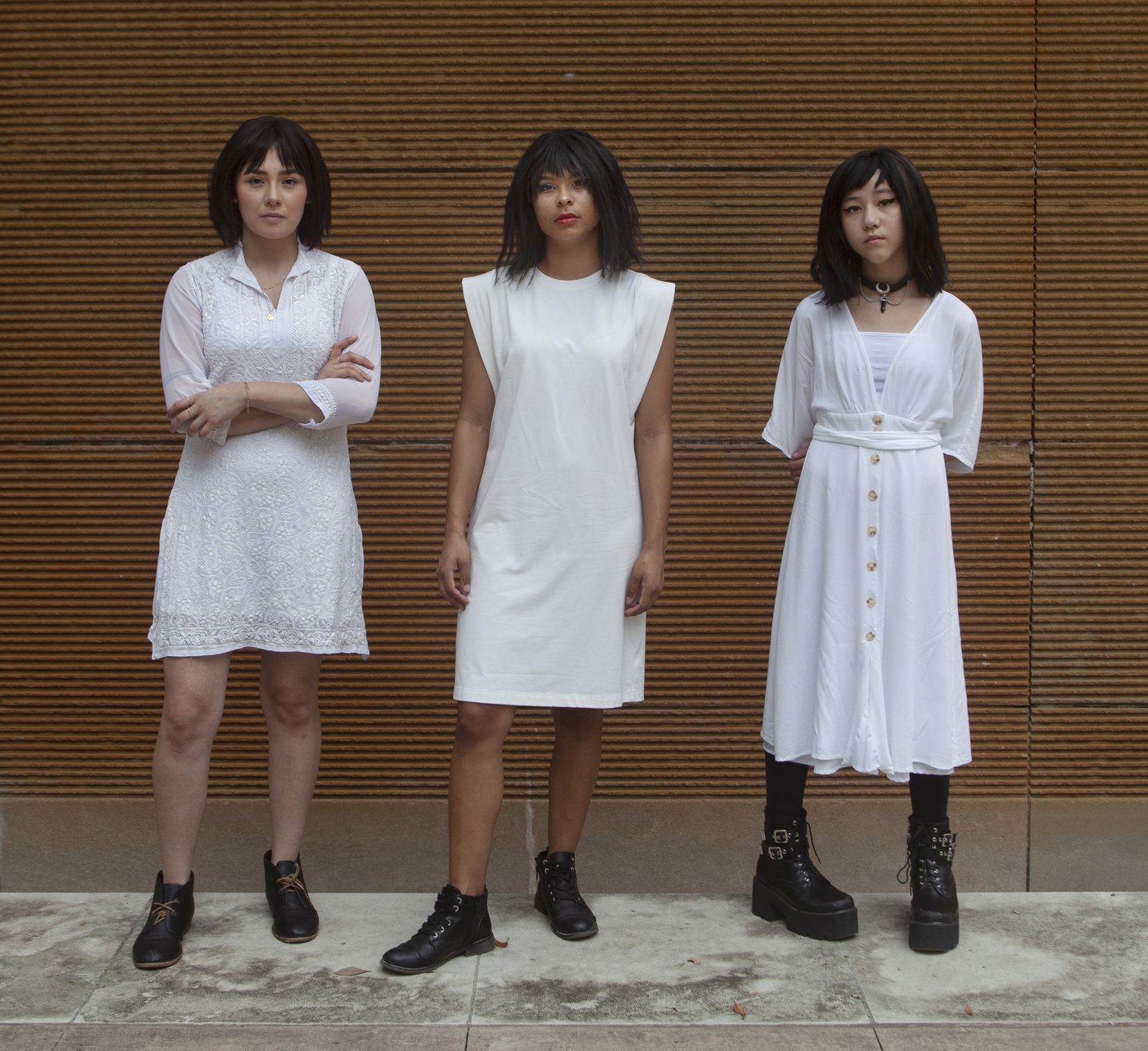 """From left: Lucila Rojas, Jessi Jones and Ava Dao Whatley portray the main character Ozlem at different ages in Artstillery's performance of """"Dirty Turk aka Dirty Immigrant."""""""