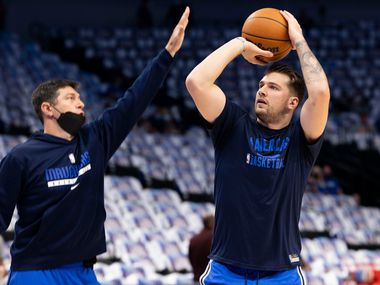 Dallas Mavericks guard Luka Dončić (77) warms-up before the Dallas Mavericks home opener against the Houston Rockets on Tuesday, Oct. 26, 2021, at the America Airlines Center in Dallas.