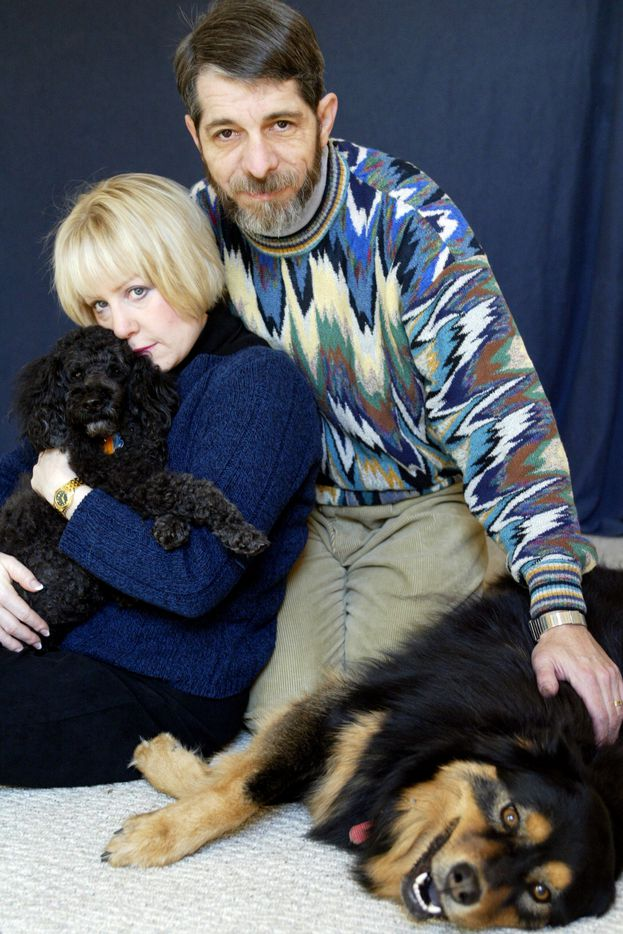 Marni and Jeffrey Weiss with their dogs Forti and Sissi, photographed in their home in 2004 for a personal story Jeffrey was writing for the paper.