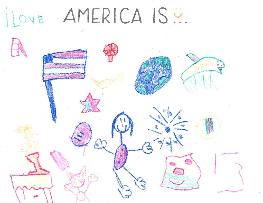 "Catie, 5, created a collage of all the things that come to her mind when she hears ""America Is,"" from fireworks to the flag to a cat."