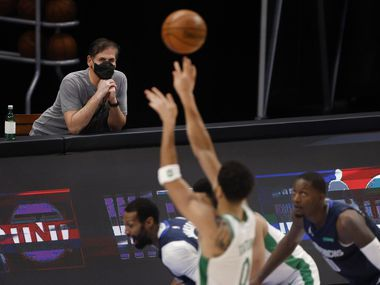 Mavericks owner Mark Cuban watches his team play against the Celtics during the first half of play at American Airlines Center in Dallas on Tuesday, Feb. 23, 2021.