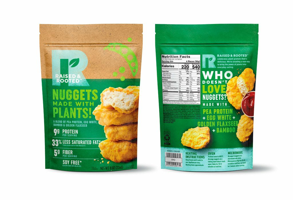This undated product image provided by Tyson Foods, Inc. shows a plant-based meat alternative made by Tyson Foods. The nuggets made from pea protein at grocery stores this summer. The product will be sold under a new brand, Raised and Rooted, which will continue to develop new plant-based products and blends. (Kevin Smith/Tyson Foods, Inc. via AP)