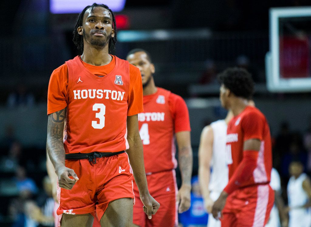 Houston Cougars guard DeJon Jarreau (3) shows frustration during the first half of a basketball game between SMU and University of Houston on Saturday, February 15, 2020 at Moody Coliseum in Dallas. (Ashley Landis/The Dallas Morning News)