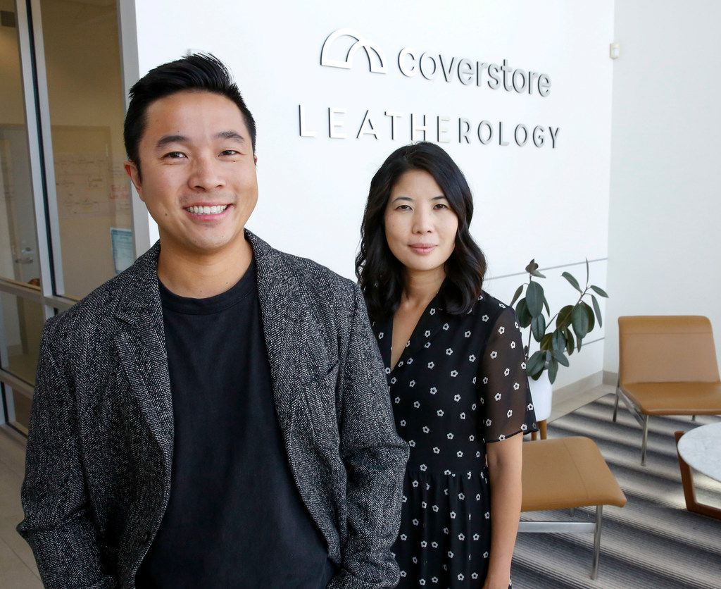 Leatherology co-founders, brother and sister David and Rae Liu, at their corporate headquarters and warehouse on Plano Parkway in Carrolton.