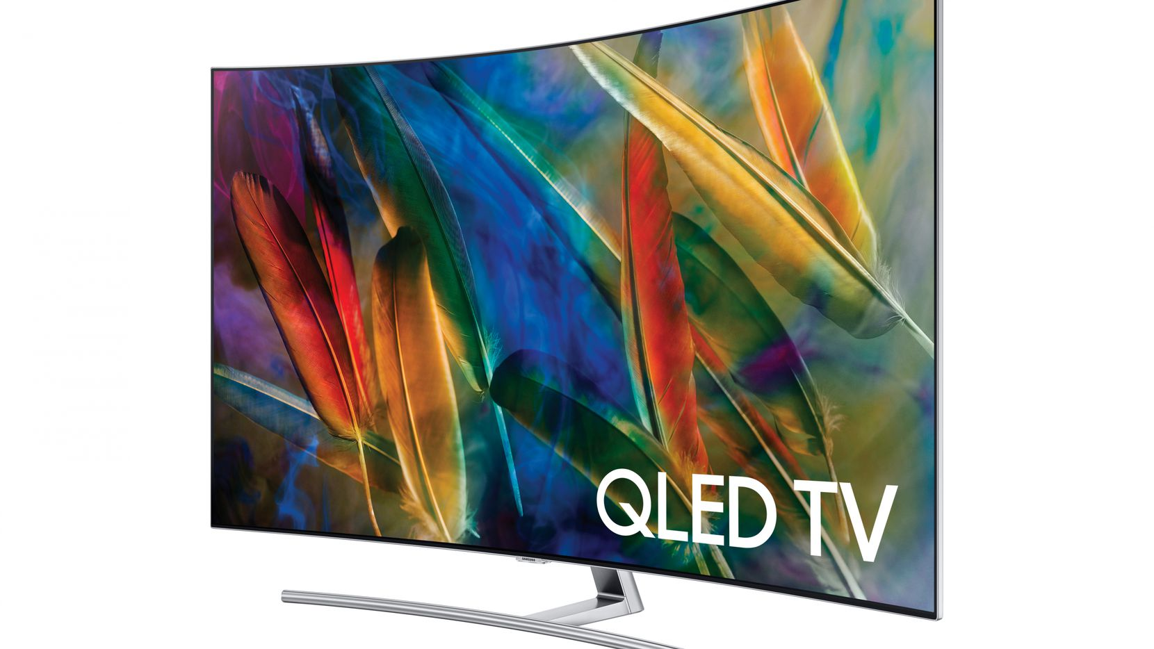 """The Samsung QLED Q7C 55"""" curved TV."""