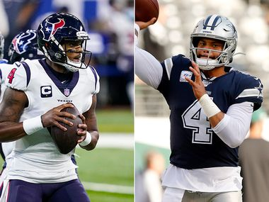 Texans quarterback Deshaun Watson (left) and Cowboys quarterback Dak Prescott. (Photos by Darron Cummings, Tom Fox)