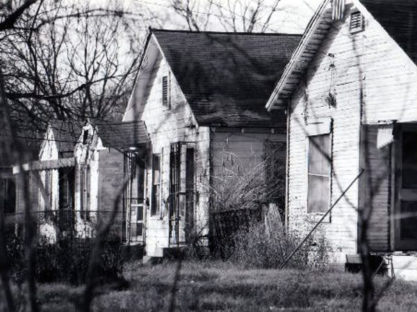 Dec. 19, 1992: A line of damaged houses scheduled for demolition in the Rochester Park neighborhood, in the southern end of the 75215 ZIP code.