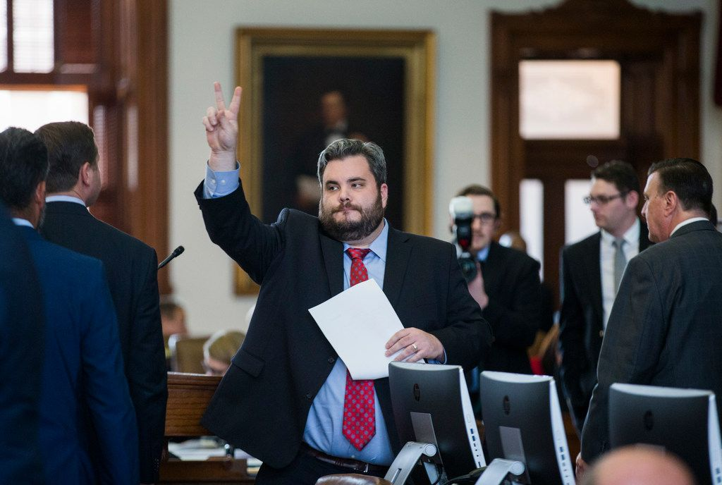 State Rep. Jonathan Stickland, R-Bedford, votes April 3, 2019, at the state Capitol in Austin.